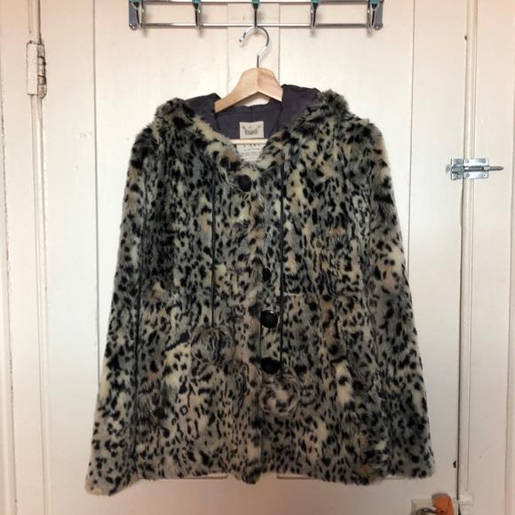 Faux fur leopard print jacket with hood.